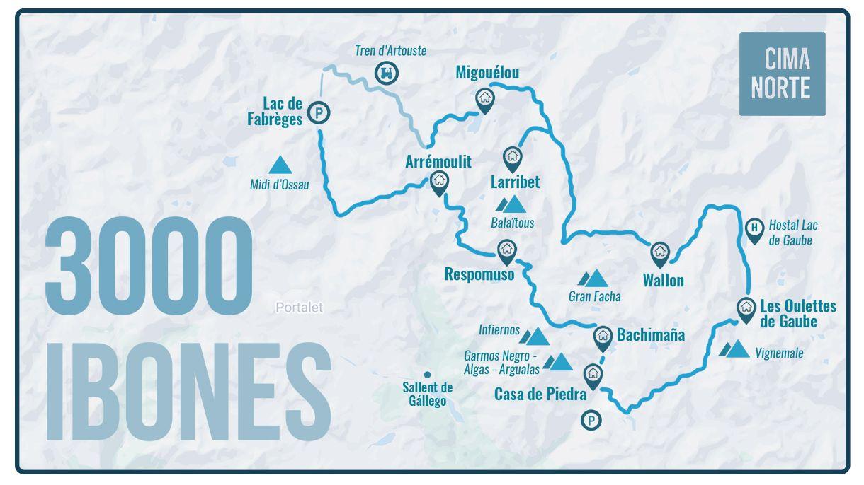 mapa 3000 ibones infografia cima norte travesia pirineo