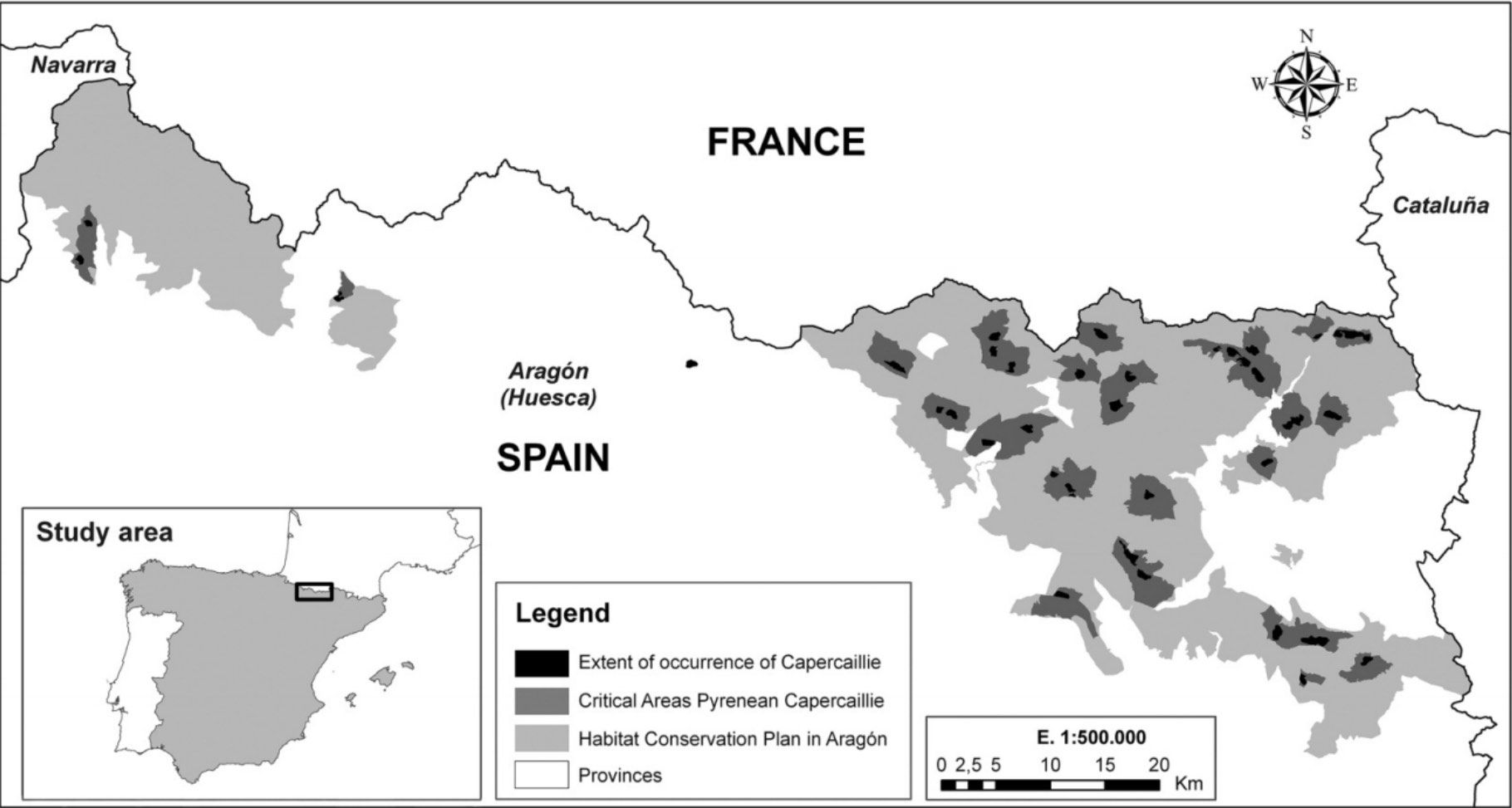 area de distribución del urogallo en el Pirineo Aragonés