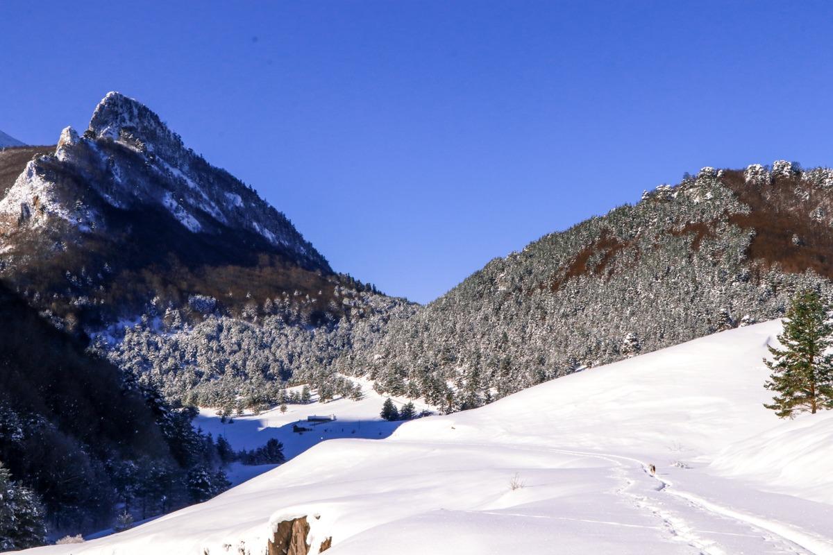 zuriza valle con nieve