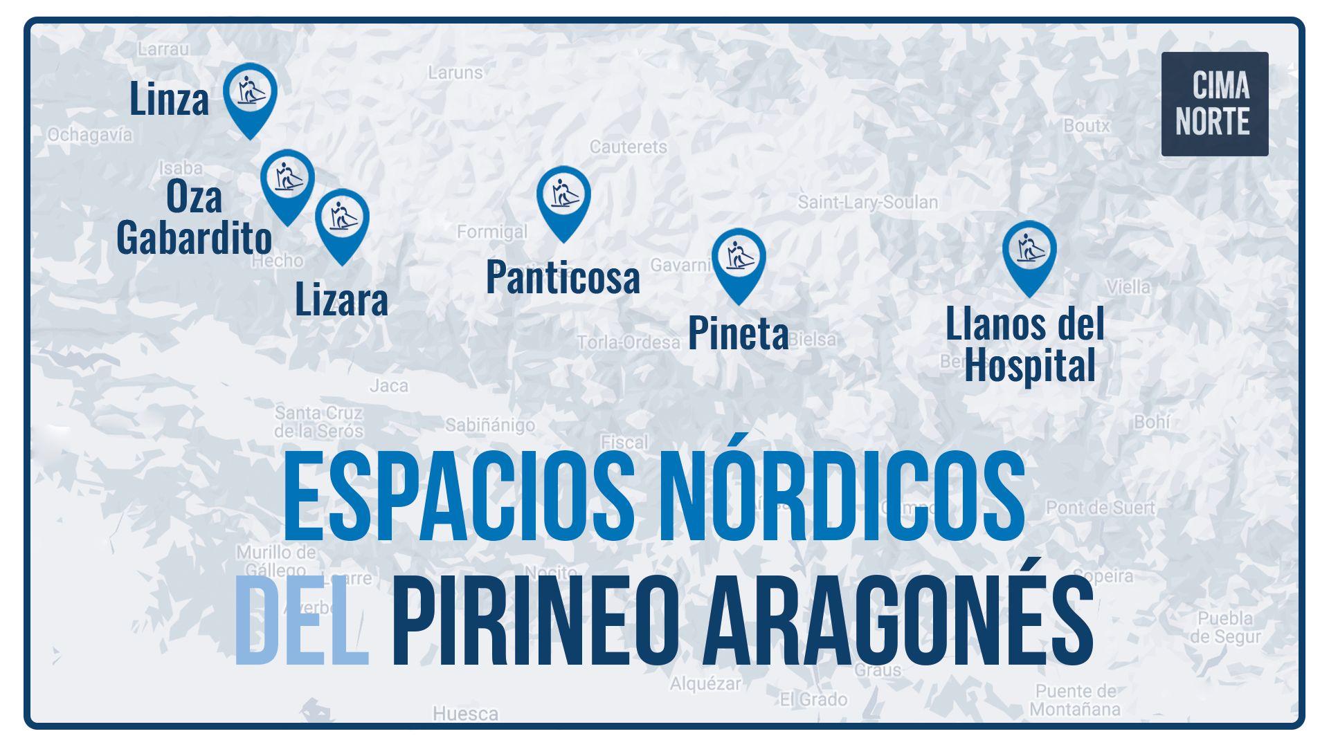 Mapa espacios nórdicos pirineo aragones