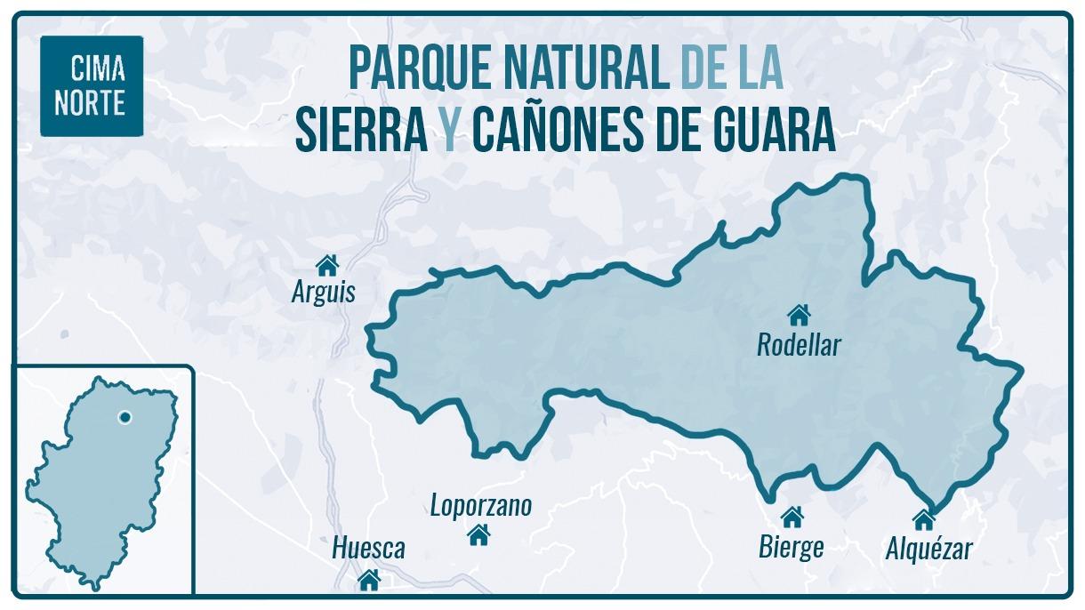 Mapa parque natural de la sierra y cañones de guara delimitación infografía