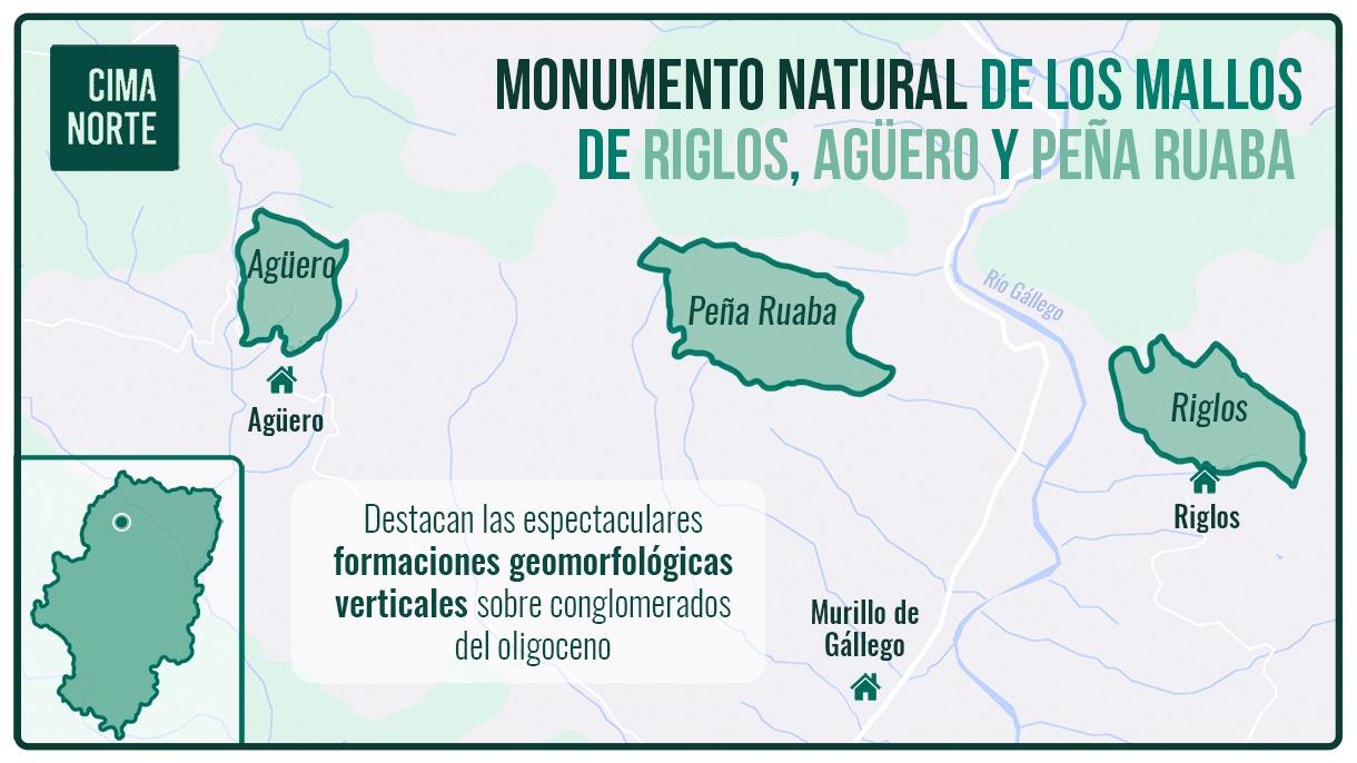 Monumento natural de los mallos de riglos, agüero y peña ruaba mapa distribucion espacio natural protegido
