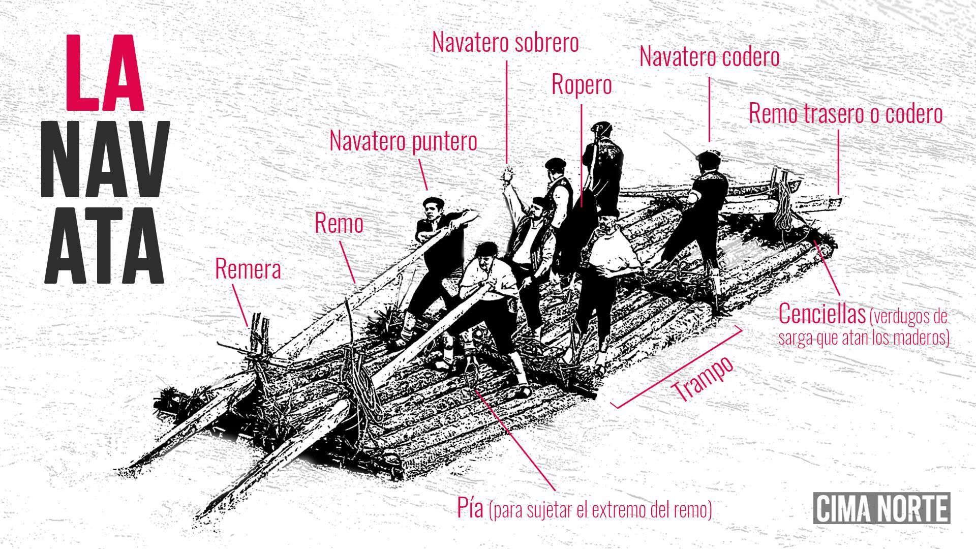 infografía partes de una navata dibujo
