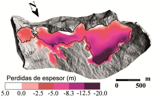 glaciares Pérdidas de espesor observadas en el glaciar del Aneto entre 2011 y 2020