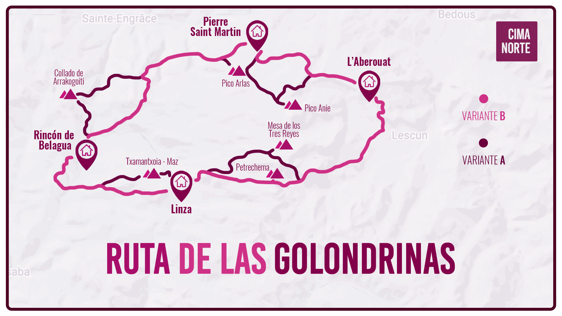 RUTA DE LAS GOLONDRINAS MAPA mapa travesia etapas