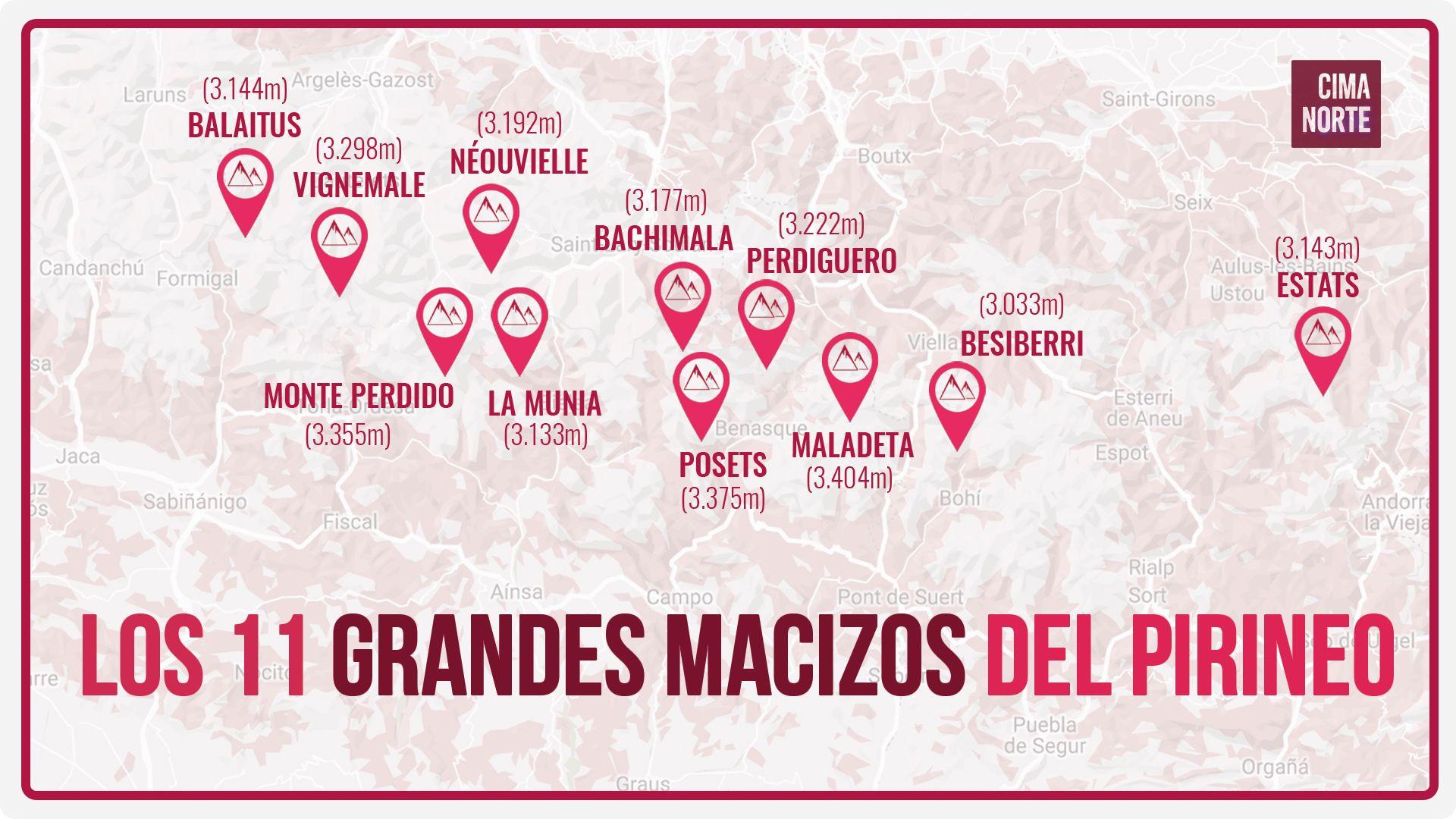 afiche los 11 grandes macizos del Pirineo mapa