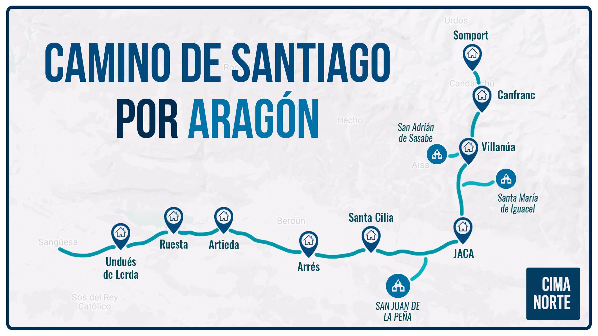 camino de santiago por aragón mapa recorrido etapas