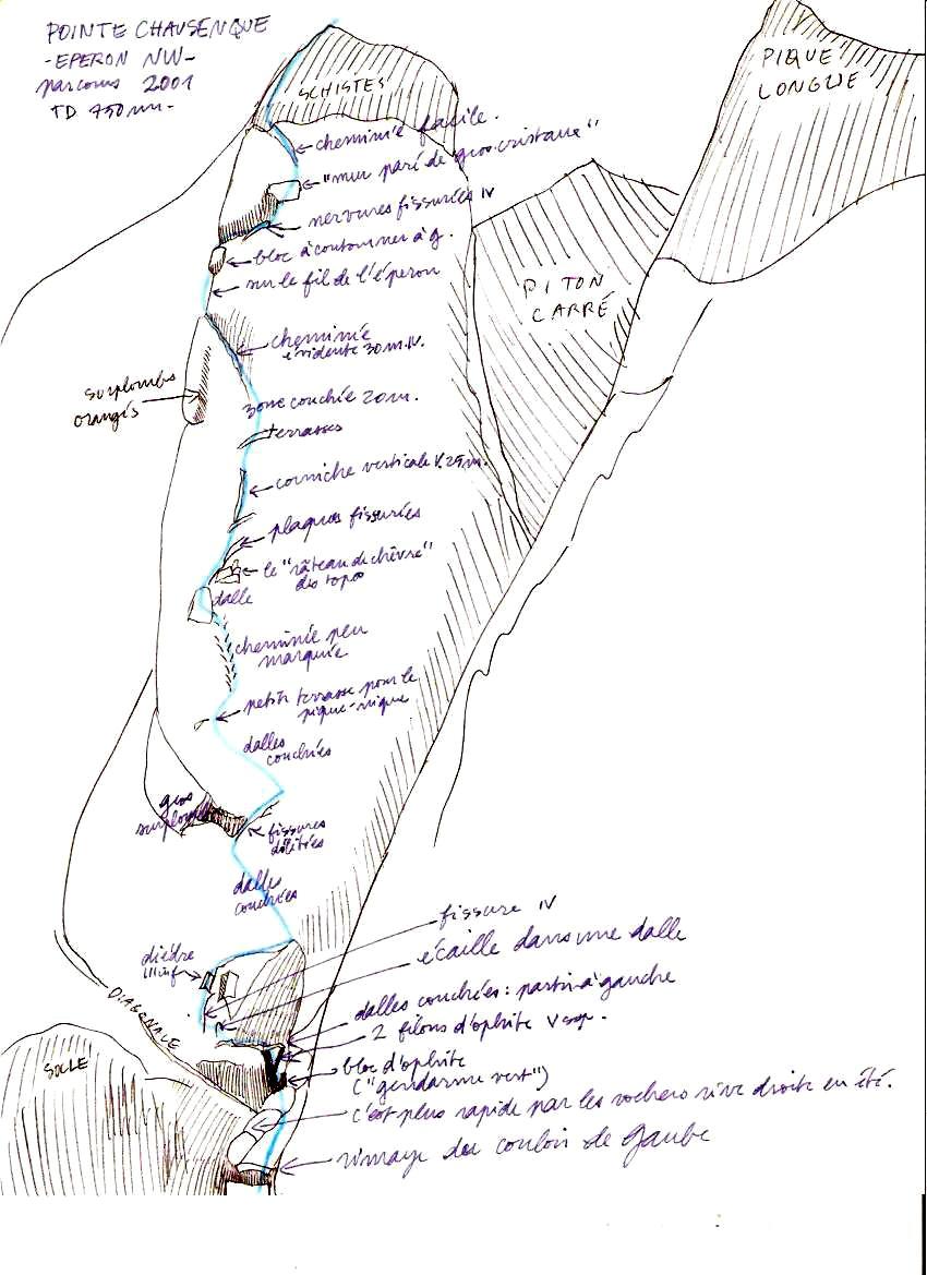 Punta Chausenque espolon noroeste croquis