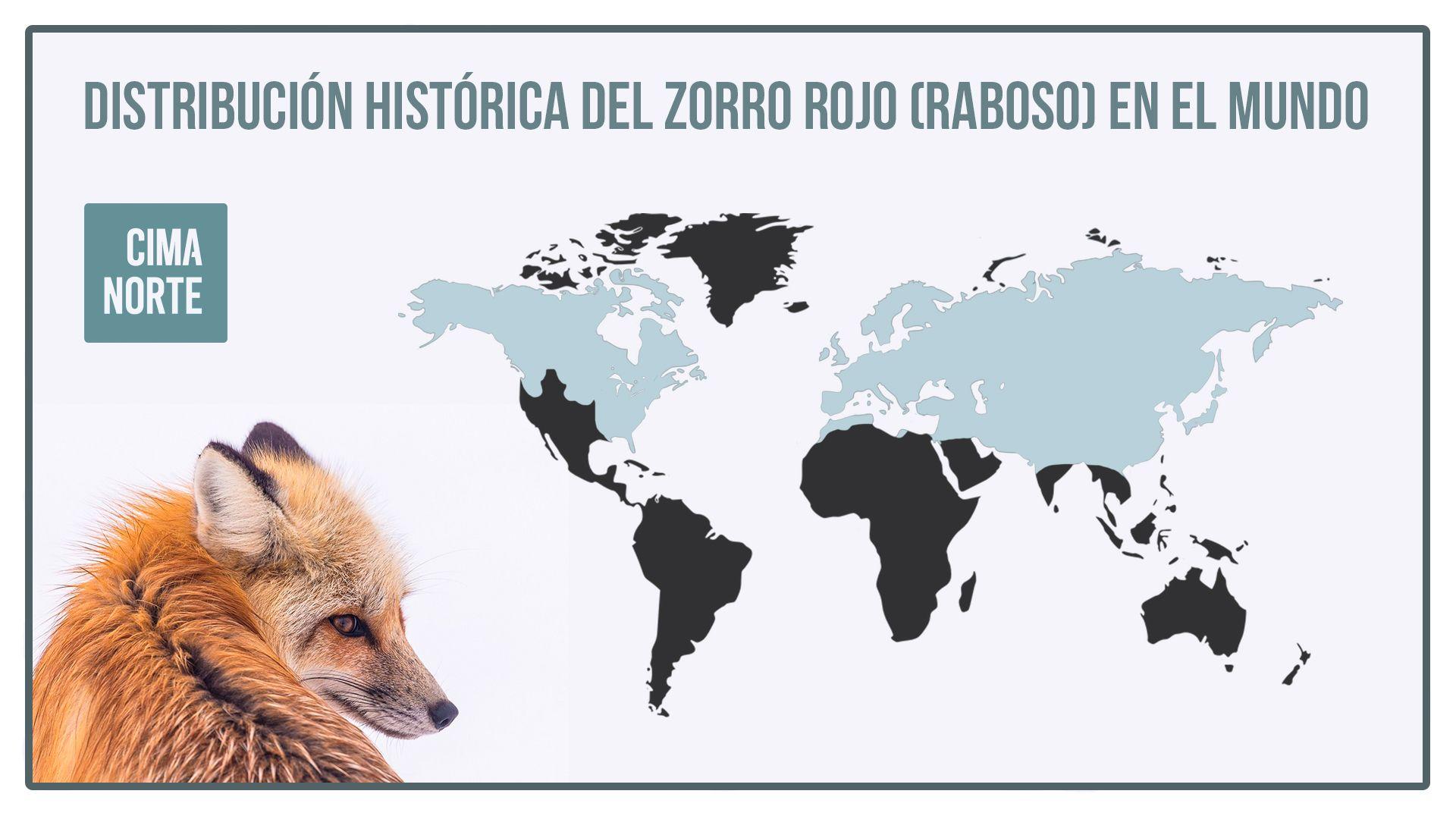 mapa distribución histórica del raboso o zorro rojo en el mundo