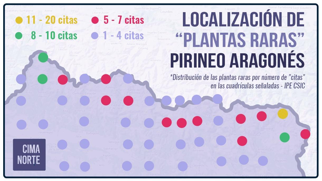 localizacion de plantas raras en el Pirineo Aragonés mapa