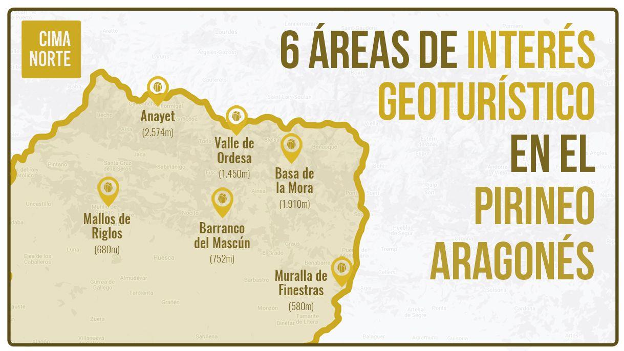 mapa 6 áreas de interés geológico en el Pirineo Aragonés infografía puntos