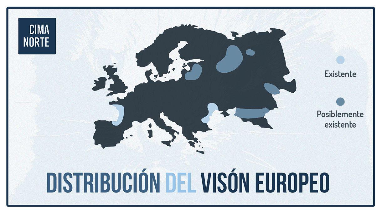 mapa distribucion vison europeo europa infografia pirineo cima norte