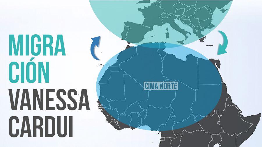 mapa migración vanessa cardui vanesa del cardo