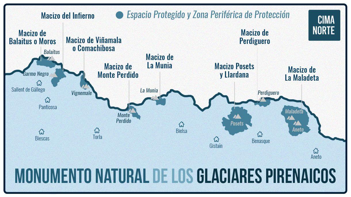 mapa monumento natural de los glaciares pirenaicos infografia