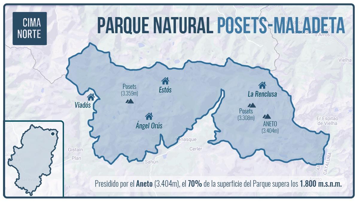 mapa parque natural posets maladeta cima norte