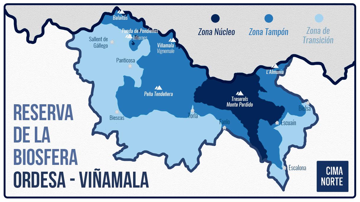mapa reserva de la biosfera ordesa-viñamala