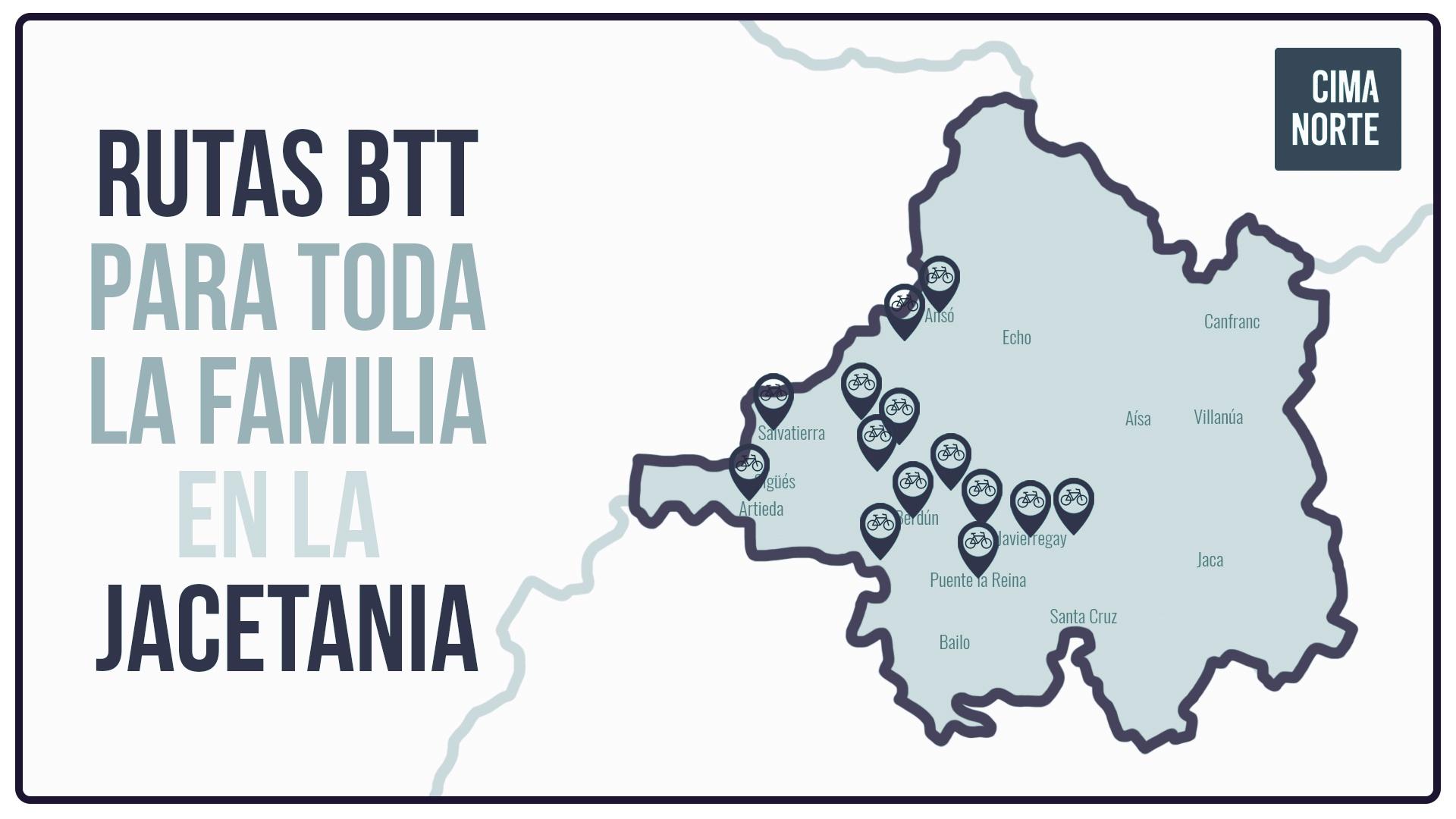 mapa rutas btt jacetania