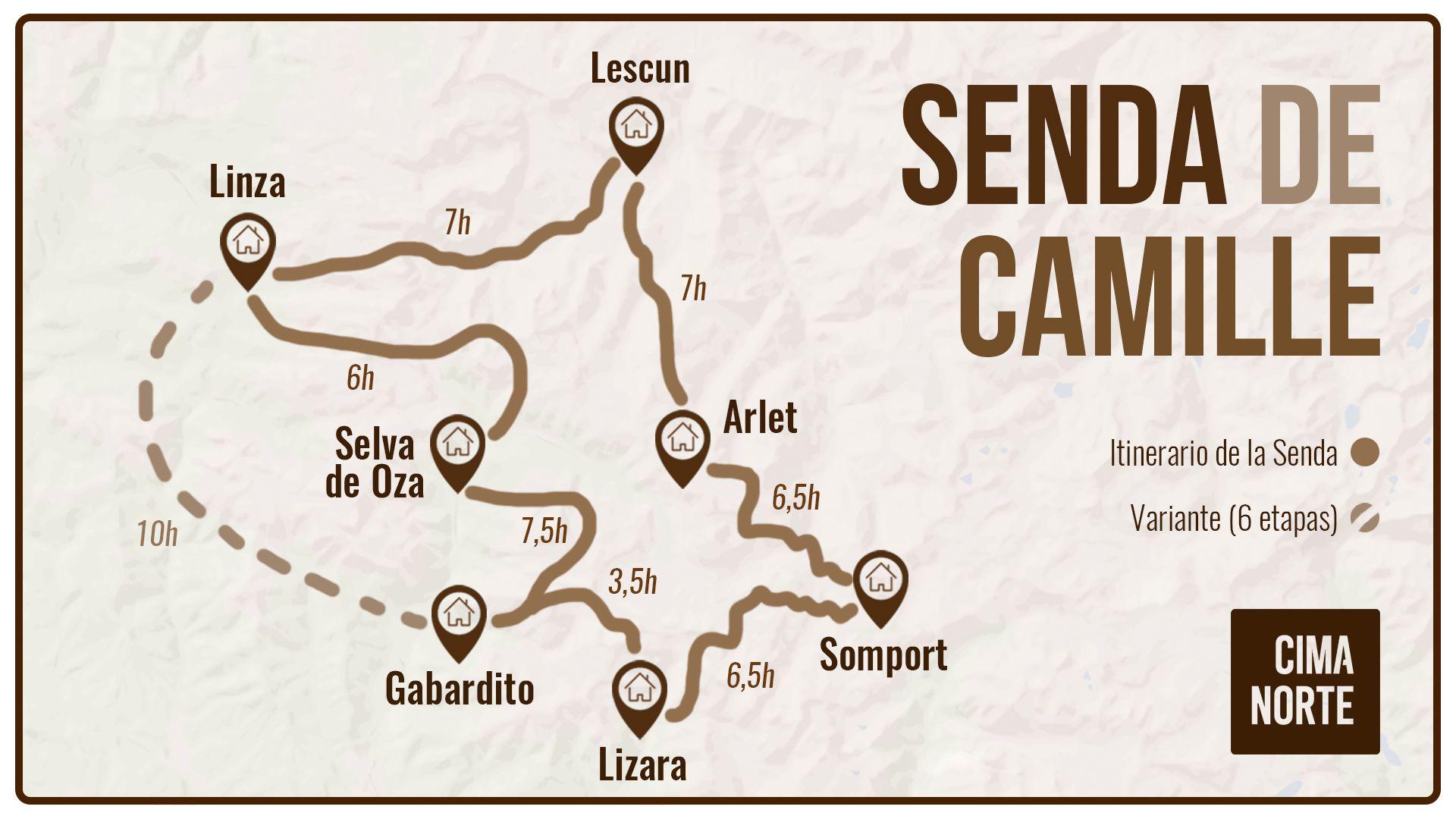 mapa senda de camille travesía pirineo occidental valles