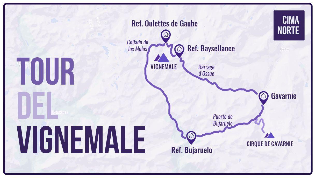 mapa tour del vignemale cima norte travesia infografia pirineo