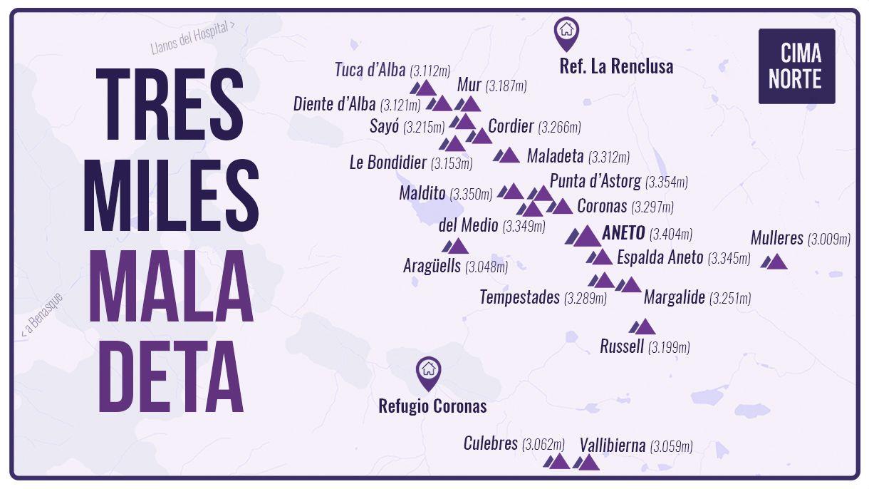 mapa tresmiles del macizo maladeta aneto infografia pirineo cima norte
