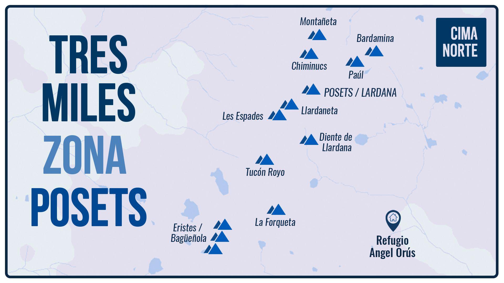 mapa infografía tresmiles posets eriste pirineo