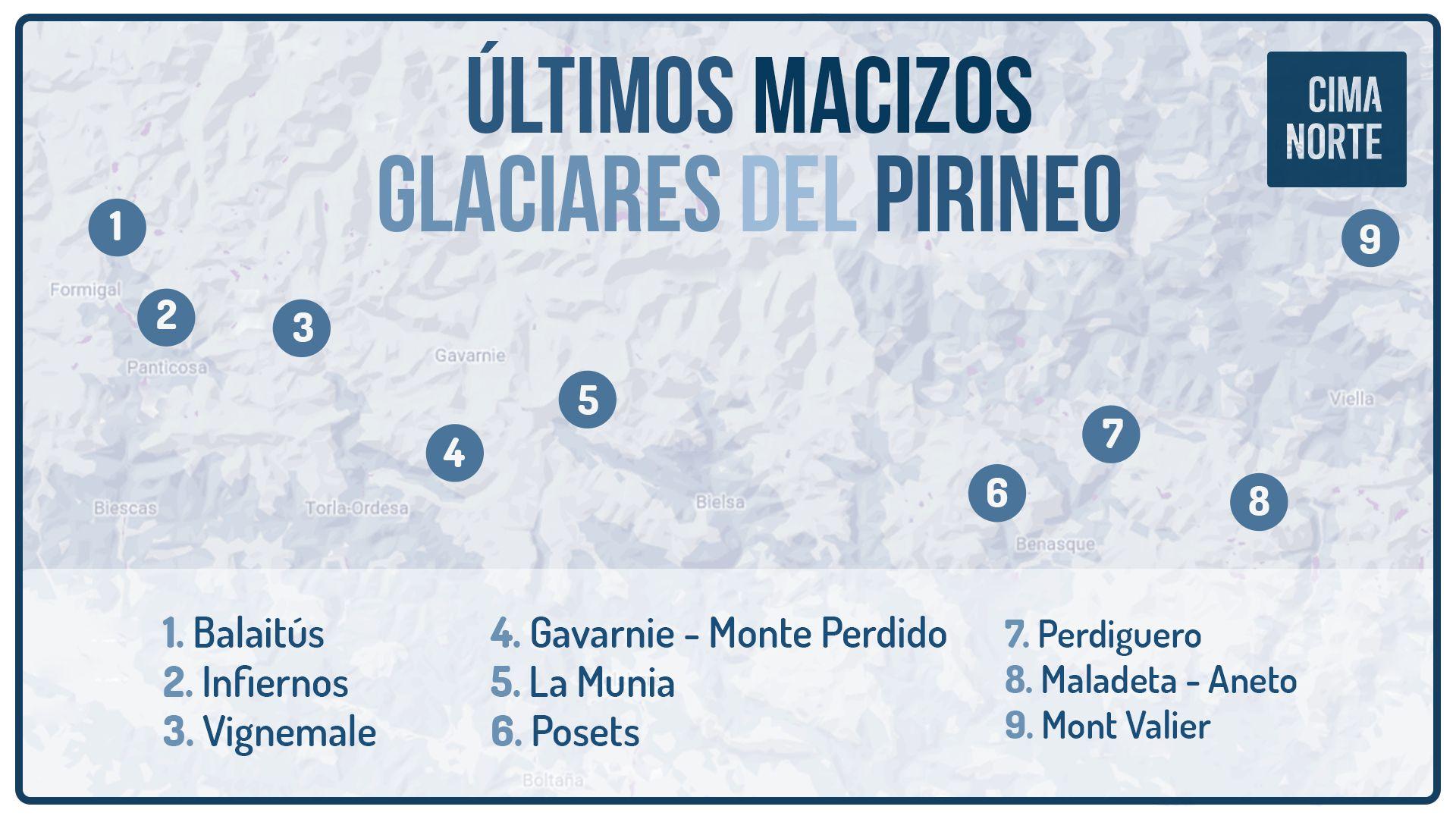 mapa ultimos glaciares del pirineo pirenaicos