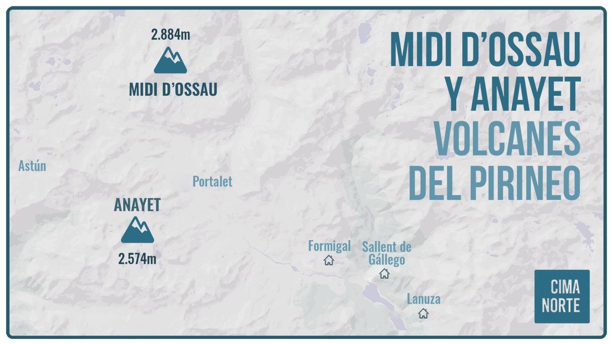 midi d'ossau y anayet mapa volcanes del pirineo