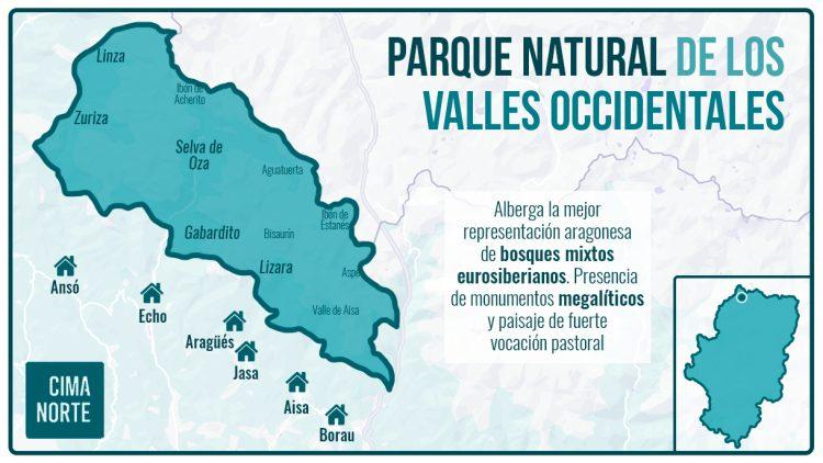 mapa el parque natural de los valles occidentales infografía