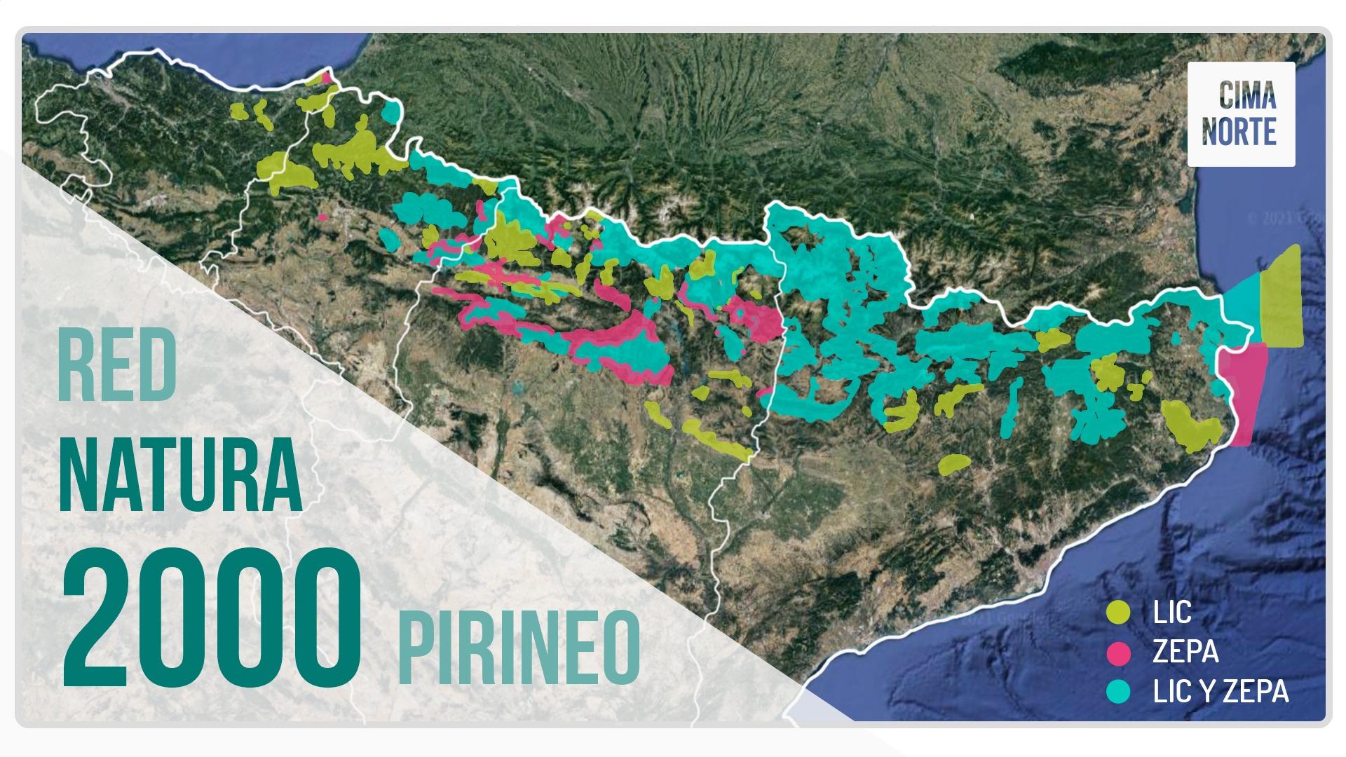 red natura 2000 mapa pirineo