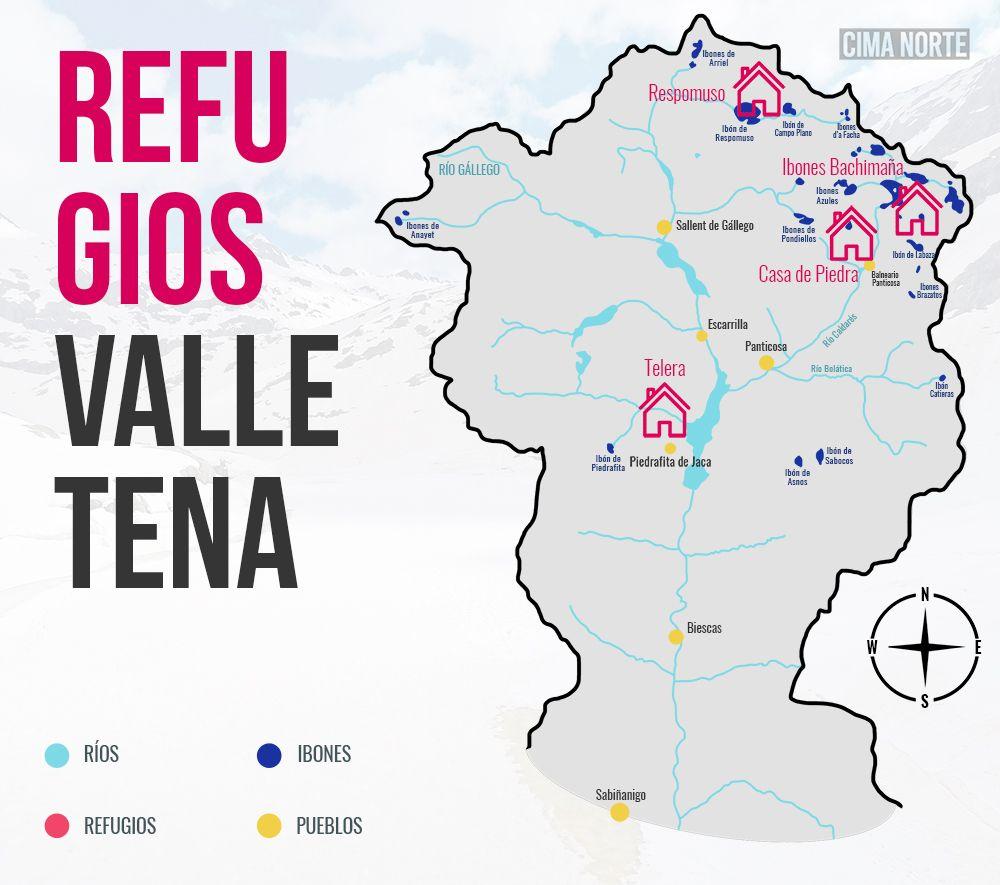 Valle De Tena Mapa.Refugios De Montana En El Valle De Tena Cima Norte