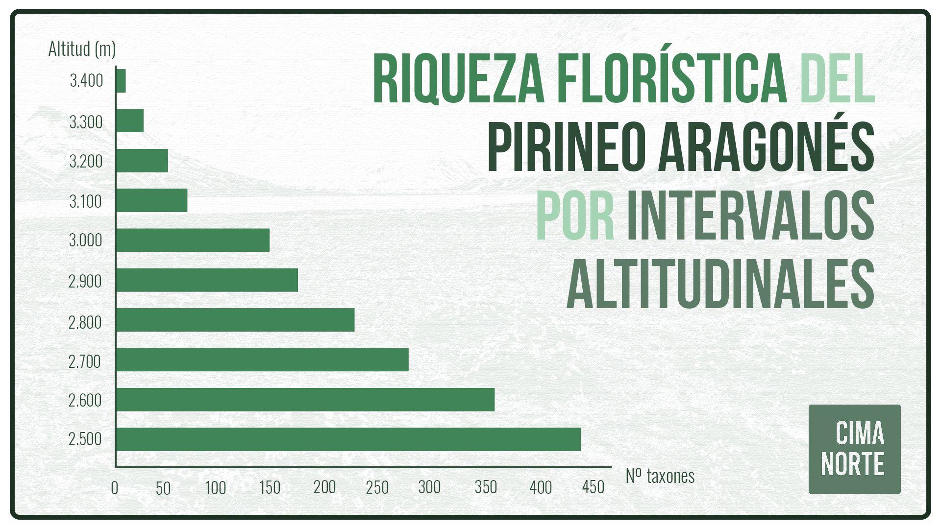 riqueza florística del pirineo aragonés por intervalos altitudinales gráfica infografia flora plantas