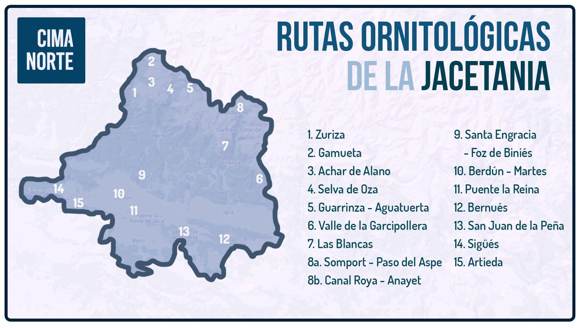rutas ornitológicas de la jacetania mapa infografía cima norte